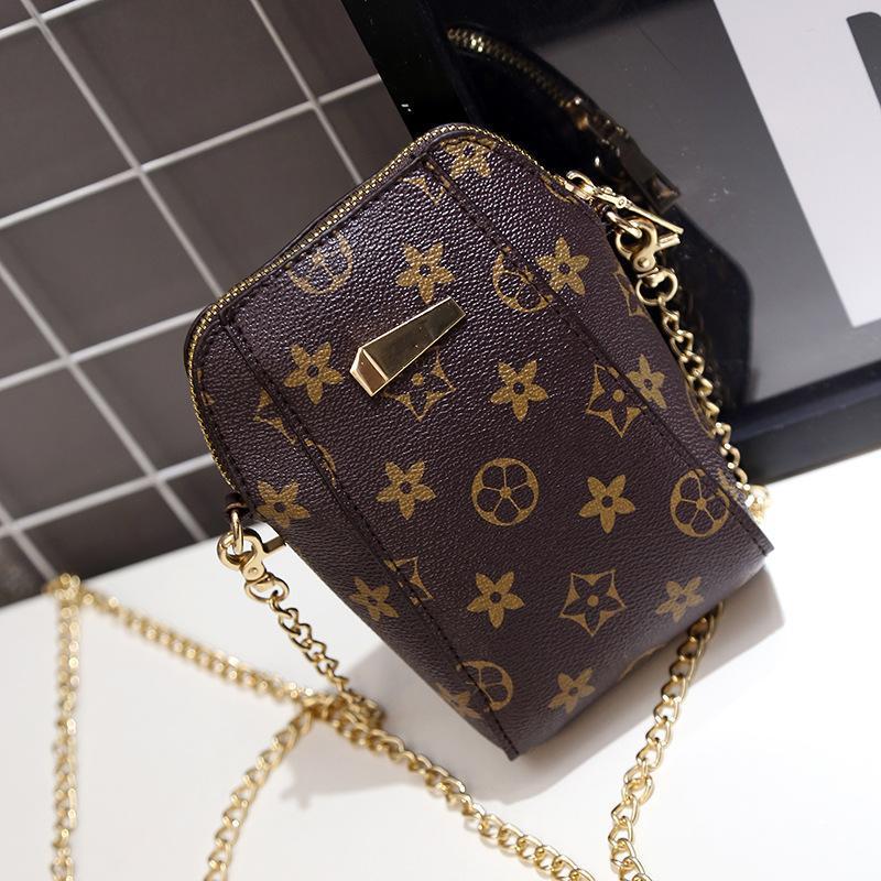 Heißer Verkauf Crossbody Taschen für Frauen PU Leder Luxus Handtaschen Designer Handytasche Retro Floral Schulter Druckmuster Kette Kupplung Frauen Tasche