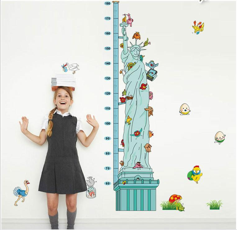 MJ8021 Statue of Liberty Height Sticker Removable Wall Stickers Height Measure For Kids Room Decal Home Decals