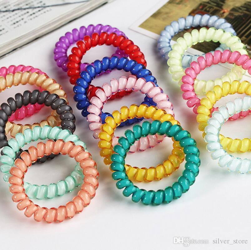 Brand new Candy color hair circle jelly large phone line tie hair rope rubber band head flower FQ047 mix order 100 pieces a lot
