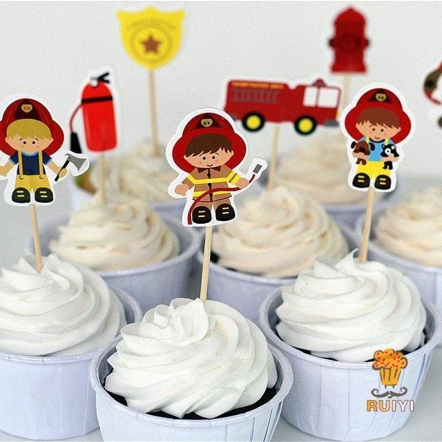 72 pcs bombeiro toppers do bolo queque picaretas de bombeiros crianças decoração de festa de aniversário do chuveiro de bebê barra de chocolate