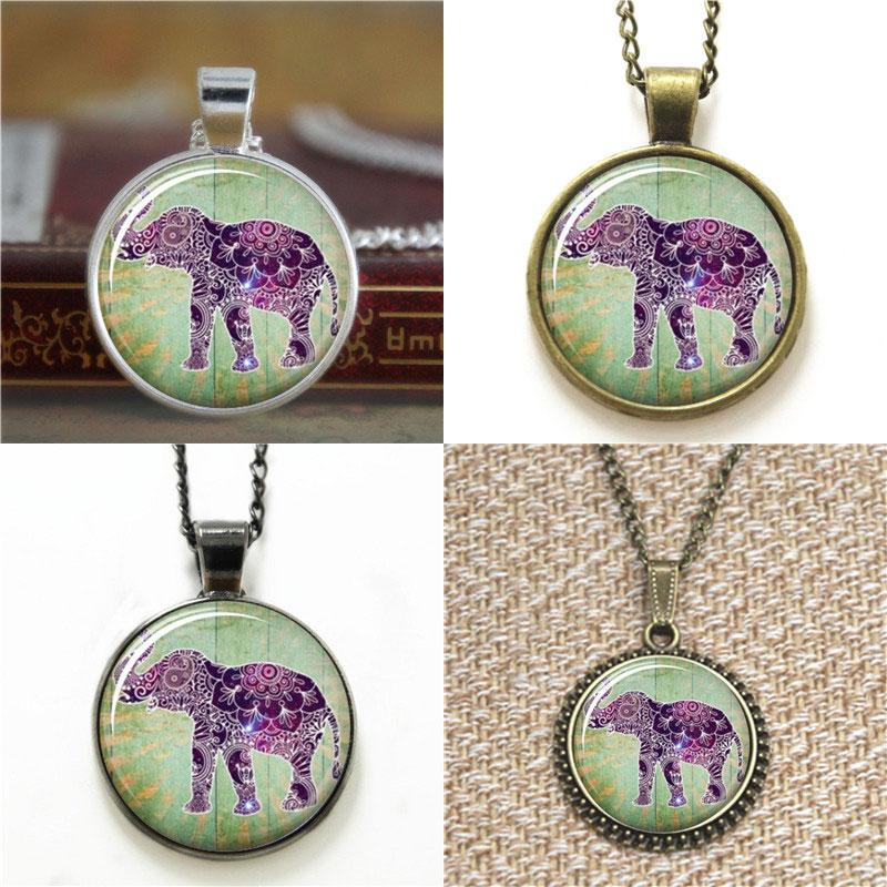10pcs Lucky Elephant Boho Jewelry Purple Henna Bohemian Art Necklace keyring bookmark cufflink earring bracelet