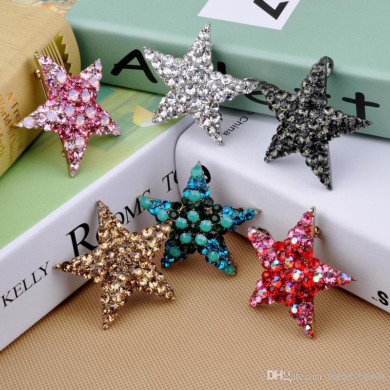 Silver Pin Large Rhinestone Brooch Embellishment ,Crystal Star Wedding Brooch Bouquet Bridal Hair Shoe Cake