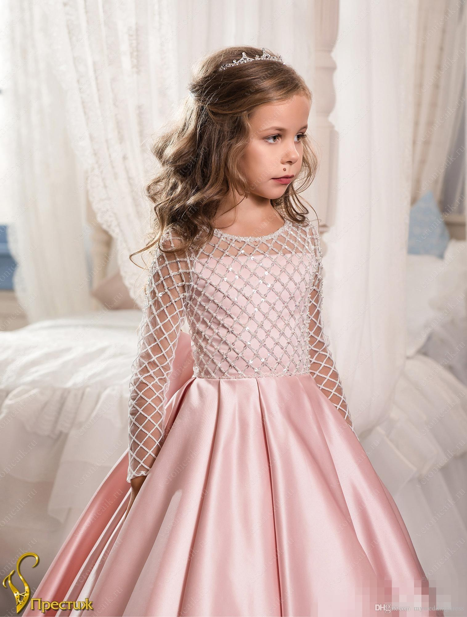 Peach Flower Girl Dresses With Long Sleeves Tutu For Girls 2017 Cute ...