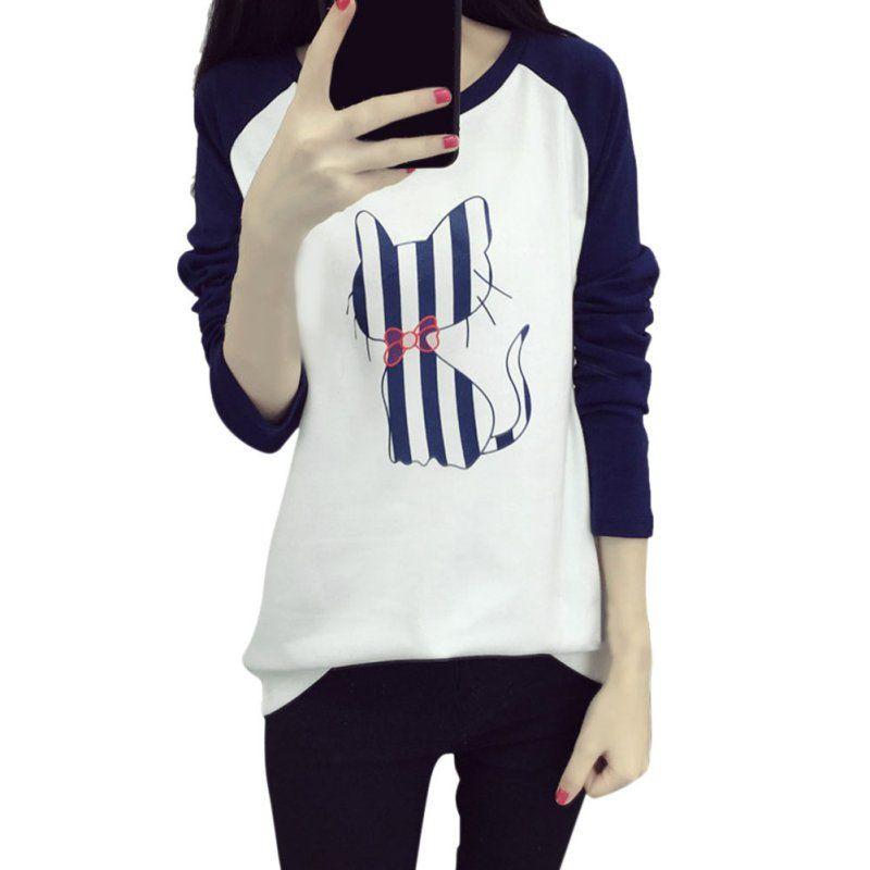 Toptan-Karışık Renk Kore Kadınlar Karikatür Kedi Baskılı T-shirt Gevşek T-Shirt Kadın Üstleri Tee LM93