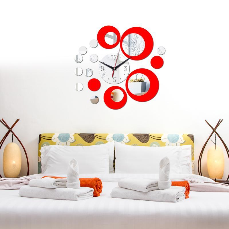 Toptan-ücretsiz kargo 2016 yeni duvar saati akrilik ayna diy saatler ev dekorasyon büyük kuvars İzle modern oturma odası 3d çıkartmalar