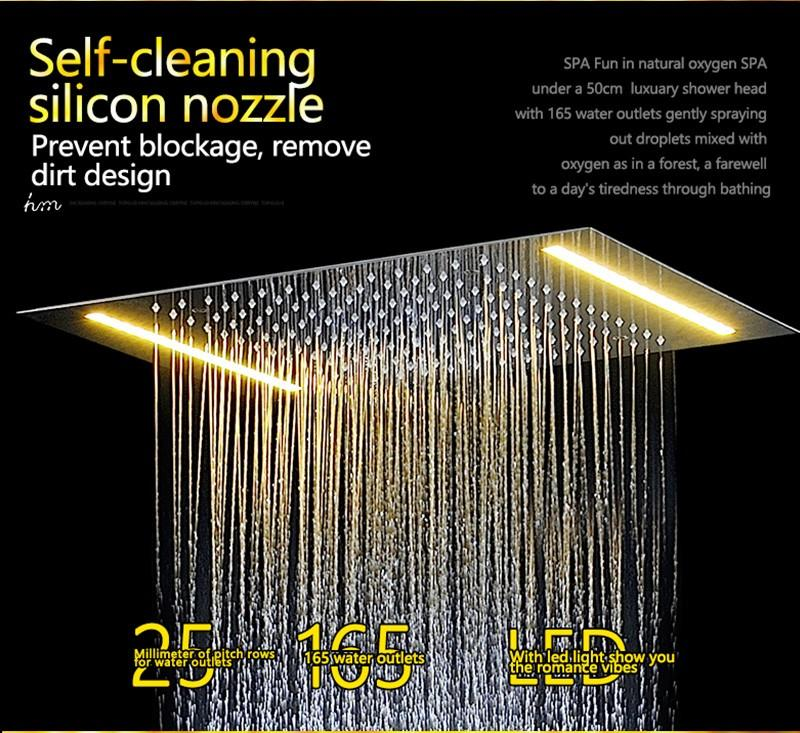 hm LED Rain Shower Set with 2 Lights with Handshower Body Jet Massage Thermostatic Mixer Bathroom Ceiling (3)
