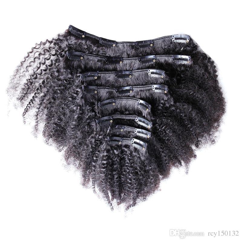 자연 헤어 몽골어 곱슬 머리 곱슬 머리카락 연장에 100g 7pcs / Lot 4A / 4b / 4c 아프로 꼬인 클립 in Extensions
