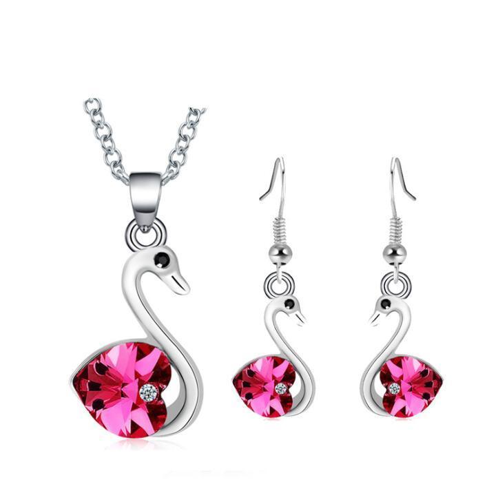 Love Heart Crystal Swan colgante, collar, pendientes, conjunto, plateado, Austria Crystal, diamante, joyería, mujeres, nupcial, boda, Jewelry