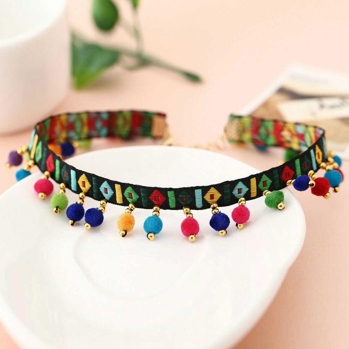 Vintage etnico collana girocollo ricamo fatto a mano nappa colorato palle ciondoli collana tribù dichiarazione collares gioielli