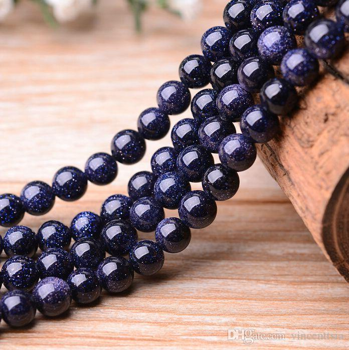 4-12mm blue gold sand Gem natural stone men bracelet jewelry findings spacers beads necklace tassels earrings carnelian diy