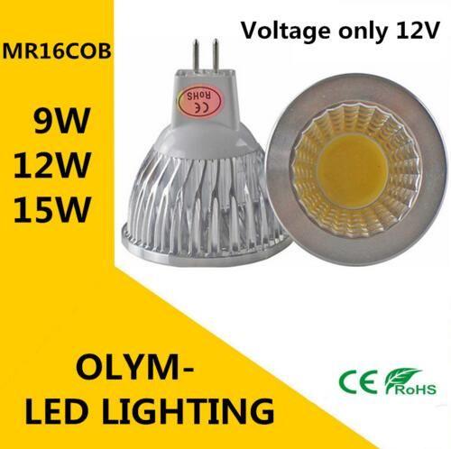 10 pz Super Deal MR16 COB 9W 12W 15W Lampada a lampadina LED MR16 12V, Warm White / Pure / Cold White Light Lighting
