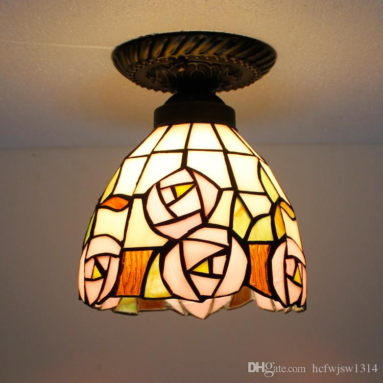 North and Europe style Tiffany color glass pendant lamp, bedroom, bar, desk, lobby, balcony, study room, coffee shop, chess room