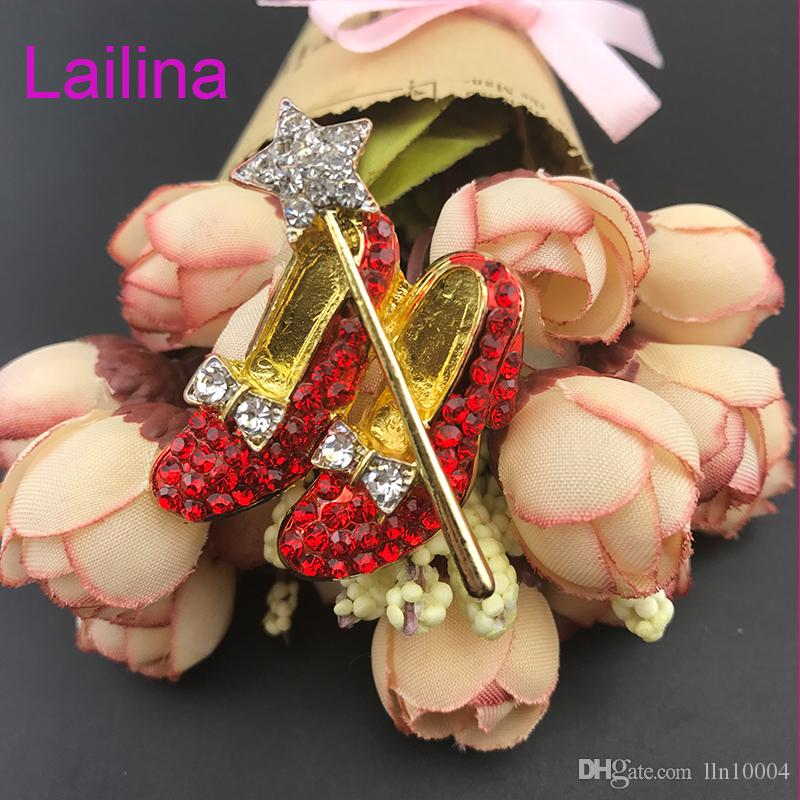50pcs/lot free shipping zinc alloy hot sale high quality 40mm red shoes rhinestone star red shoes brooch pin