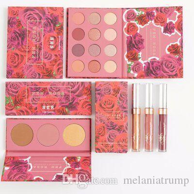 NUEVO ColourPop Fem Rosa Set 12 color de sombra de ojos +3 color Highlighter + Mate lápiz labial DHL Envío gratis