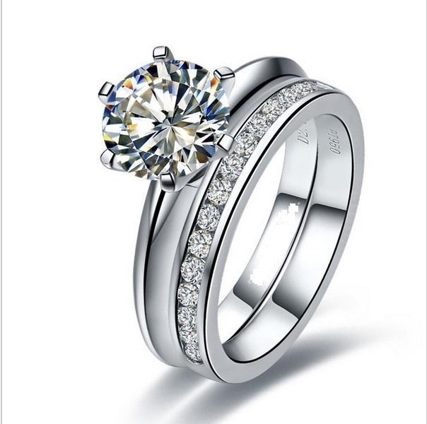 두 반지의 Set 1CT 라운드 컷 합성 다이아몬드 결혼 여성 세트 반지 925 스털링 실버 반지 화이트 골드 도금