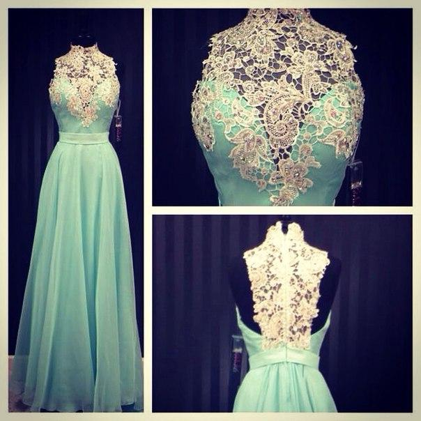Prom Dresses High Neck 2018 Turquoise Chiffon Appliques Lace A-line Sheer Real Fotos Vestido de noite com estilo vitoriano Ladies Special Occasions