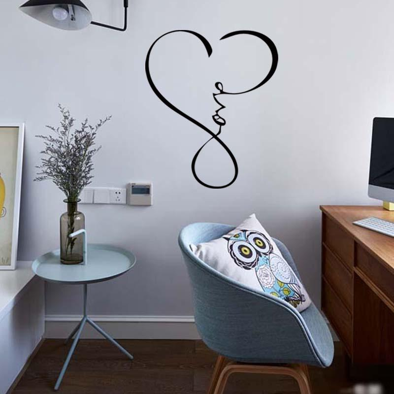 Amor infinito corazón palabras de la pared calcomanía palabras extraíble vinilo cita decoración pegatina dormitorio salón arte DIY