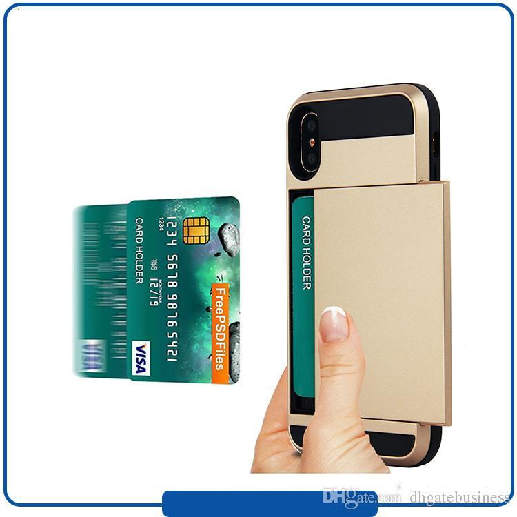 Тонкий гибридный кредитная карта карман бумажник чехол телефон чехол для iPhone X 8 7 6 S плюс Sumsung Примечание 8 S8 плюс случаи крышка