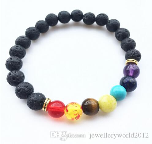 Chakra 8MM perle in pietra lavica braccialetto colorato braccialetto 120pcs Chakra energia yoga tallone / lot libera
