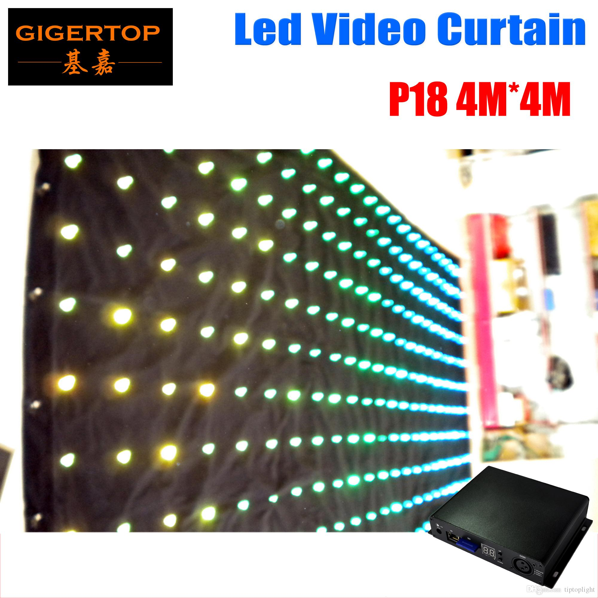 High Quality P18 4M*4M Tricolor Led Graphic Curtain,RGB Color Mixing LED Video Curtain For DJ Wedding Backdrop On/Off Line Mode