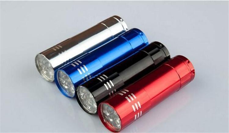 9 LED البسيطة الألومنيوم الأشعة فوق البنفسجية 9 LED مصباح يدوي Blacklight الشعلة ضوء مصباح 100PCS السفينة حرة