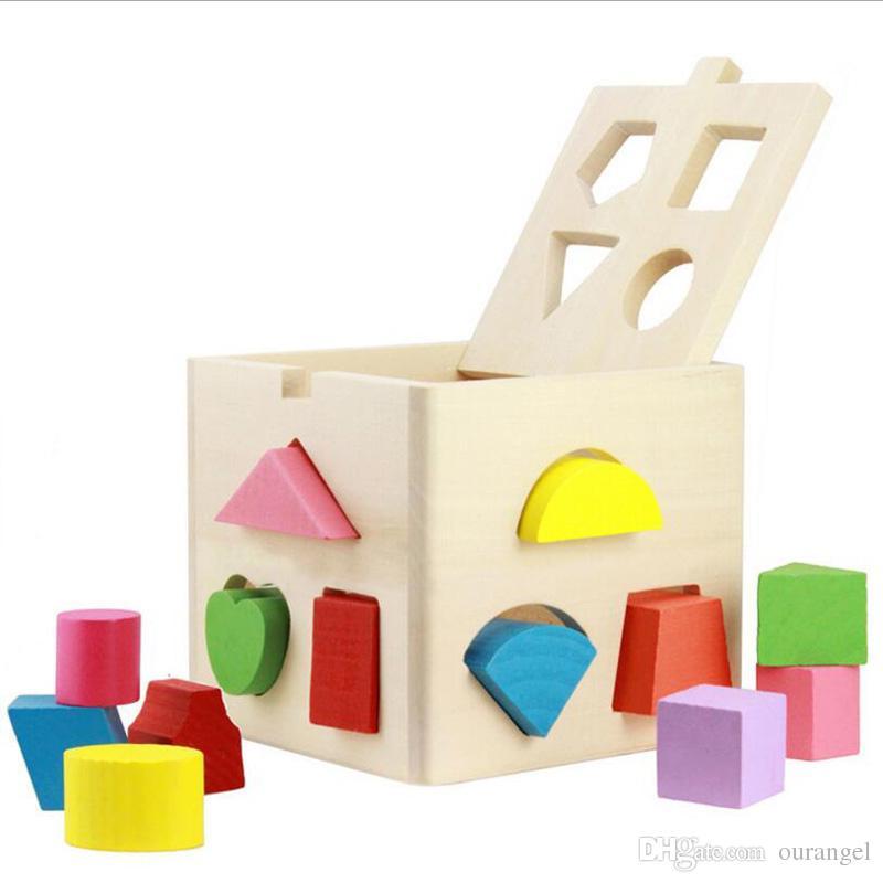 베이비 키즈 나무 학습 기하학 교육 완구 퍼즐 아이들 조기 학습 3D 모양 나무 조각 그림 퍼즐