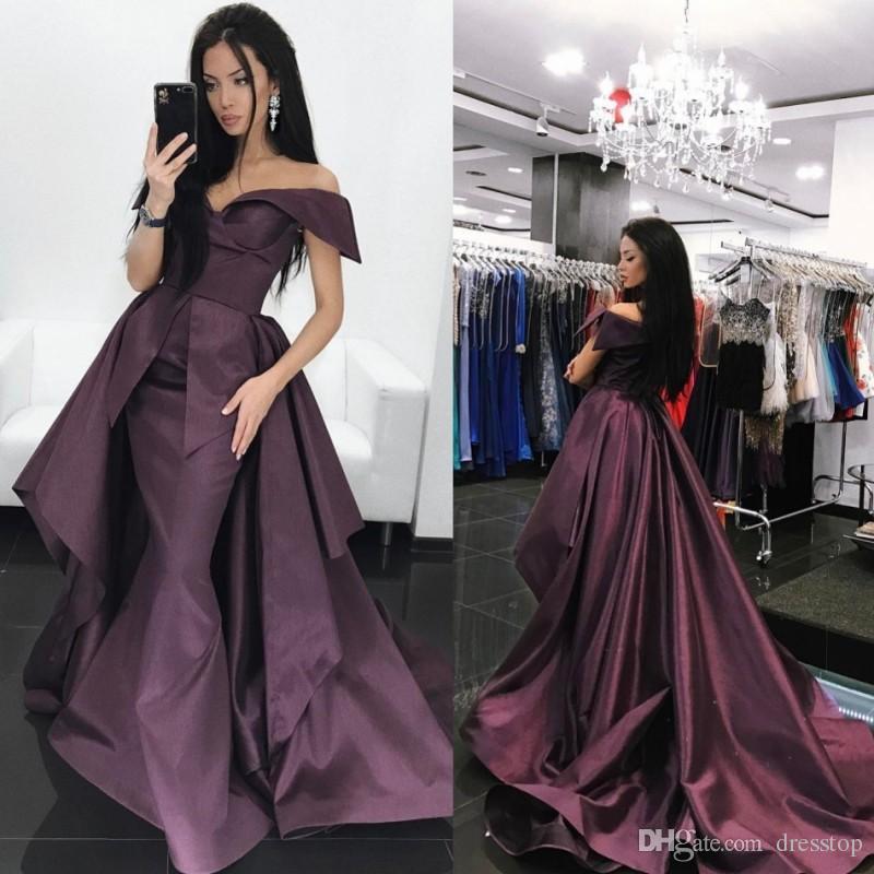 Moda Tafetá Vestidos Desgaste da Noite Fora Do Ombro Sereia Vestido Formal Sweep Train Plissados Red Carpet Dress