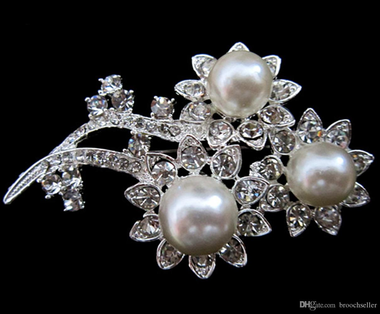 Bloemontwerp Verzilverd Clear Rhinestone Crystal White Pearl Broche
