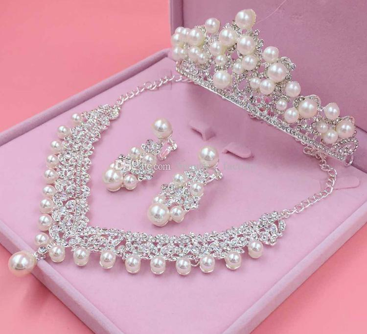 Artificial Pearl Bridal wedding jewelry Tiaras & Hair set of the Bride Crown Earrings Necklace Bridal Accessories T1603