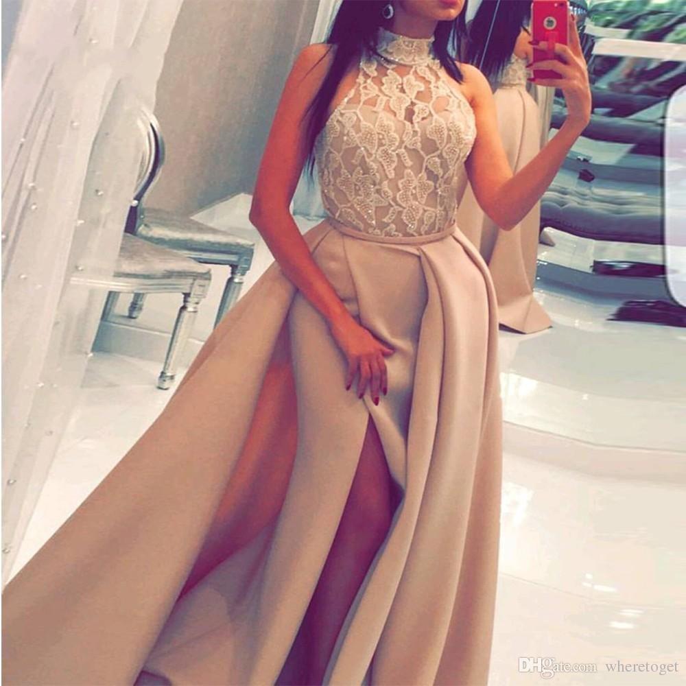 2021 Nueva llegada con cuentas de cordones de cuello alto satinado Lado de satén Vestidos de noche Arabia Saudita Mujeres Formal Ball Ball Vestidos