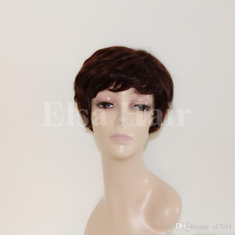 Großhandel 2017 Kurze Haarschnitte Kurze Menschenhaarperücken Für Männer Frauen 6 Inch Schwarze Perücke Gerade Maschine Gemacht Lace Front Perücke