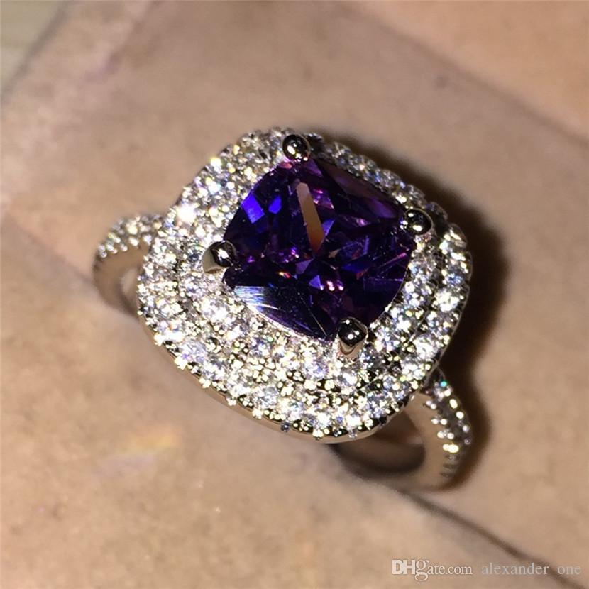Fashion Purple Square CZ 2 Surround Pave setting Gioielli con diamanti simulati 10KT Anelli a fascia per matrimonio realizzati in oro bianco per le donne