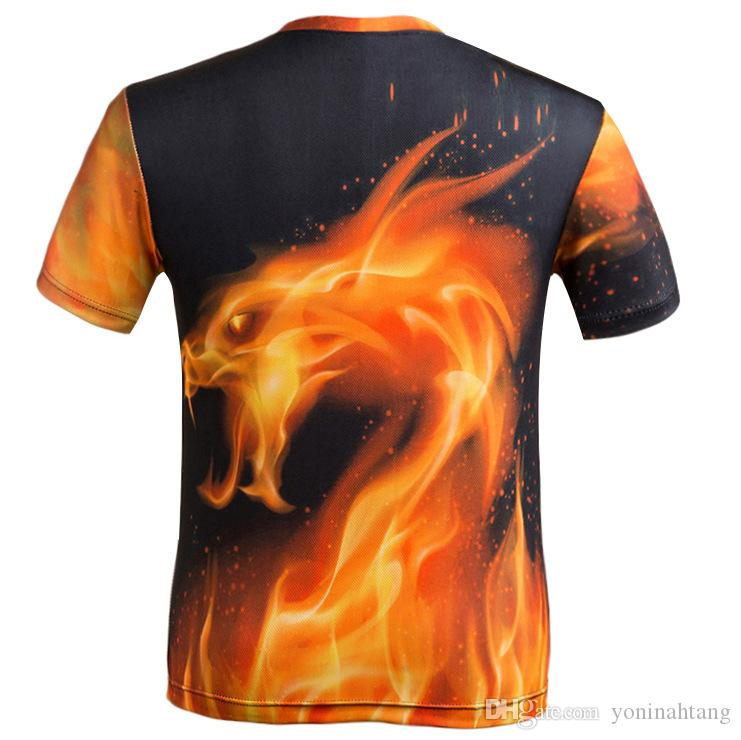 Dark Fire Dragon Boys Short-Sleeve Crewneck T-Shirt