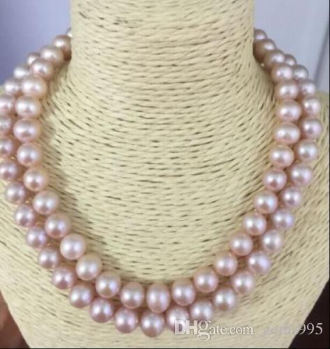 collana di perle di lavanda naturale a doppio filo 9-10mm a doppio filo