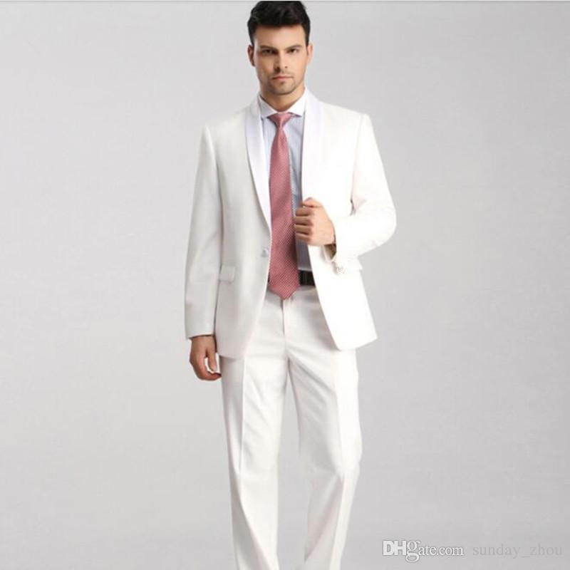 Custom made men suits simple elegant business casual suits white ...