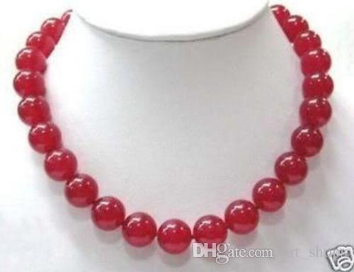 "FFREE SHIPPING ** 12mm jaspe rouge collier de perles rondes 18 ""LL003"