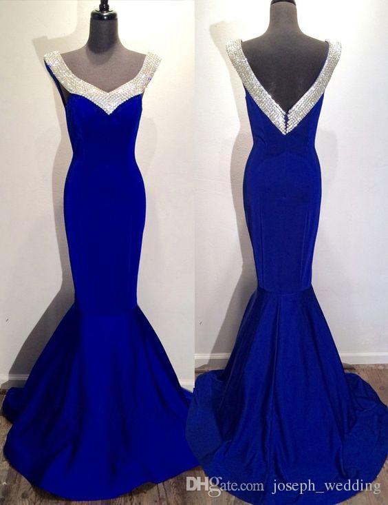 Vimans Elegante scollo a V blu abito formale Abito da festa abito V indietro lungo sirena Royal Blue Abiti da sera a buon mercato