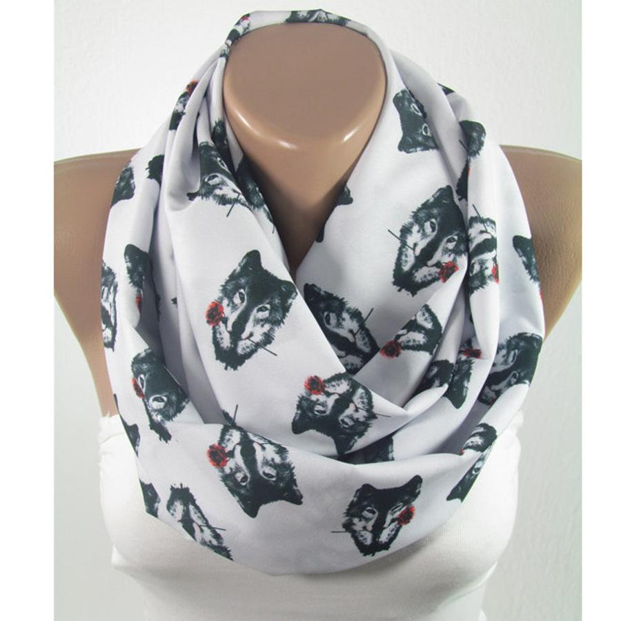 2017 New Design Milk Silk Animal Print Infinity Scarf Dog Print Ring Scarves Rose Print Valentine's Day gift Scarfs DHL Free