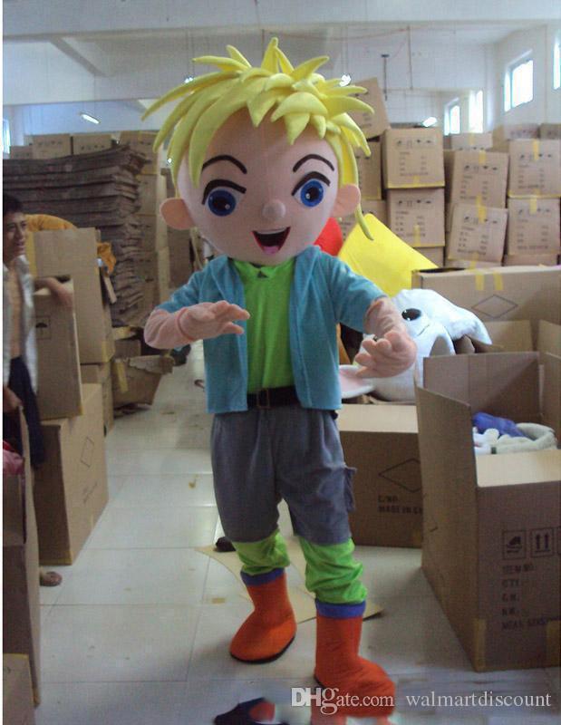 2017 Factory Made Mascot Costume Dorosłych Charakter Kostium Maskotki Jako Fashion Freeshipping Yellow Hair Boy