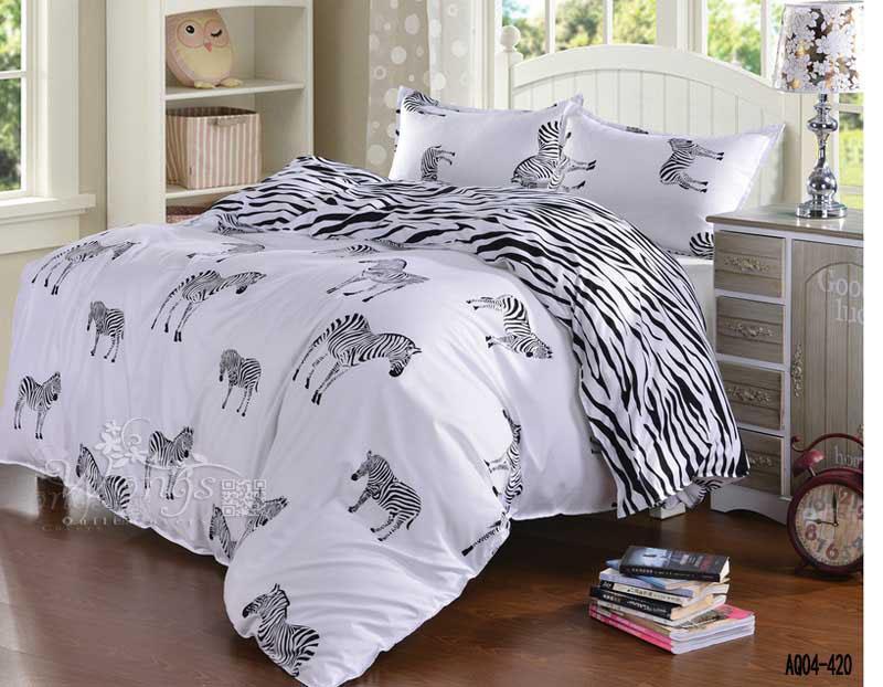 Venta al por mayor- 3D Black and White Zebra Setting Set Queen Double Single Duvet Funda de edredón Funda de almohada de hoja plana 3pcs Conjunto de ropa de cama