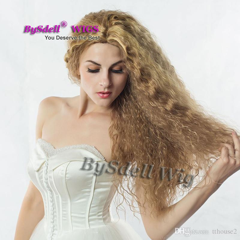 Hot Sexy lady brown blonde mix color kinky curly hair wig pretty natural hair middle part scalp wigs for black/ white women