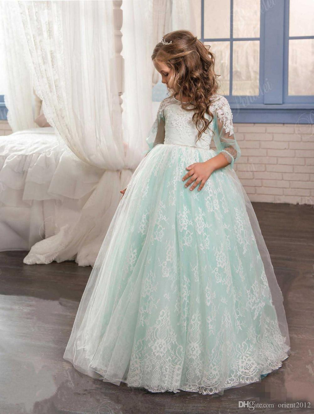 Half Sleeve Lace Little Flower Girl Dress Mint Green Kid Pageant ...
