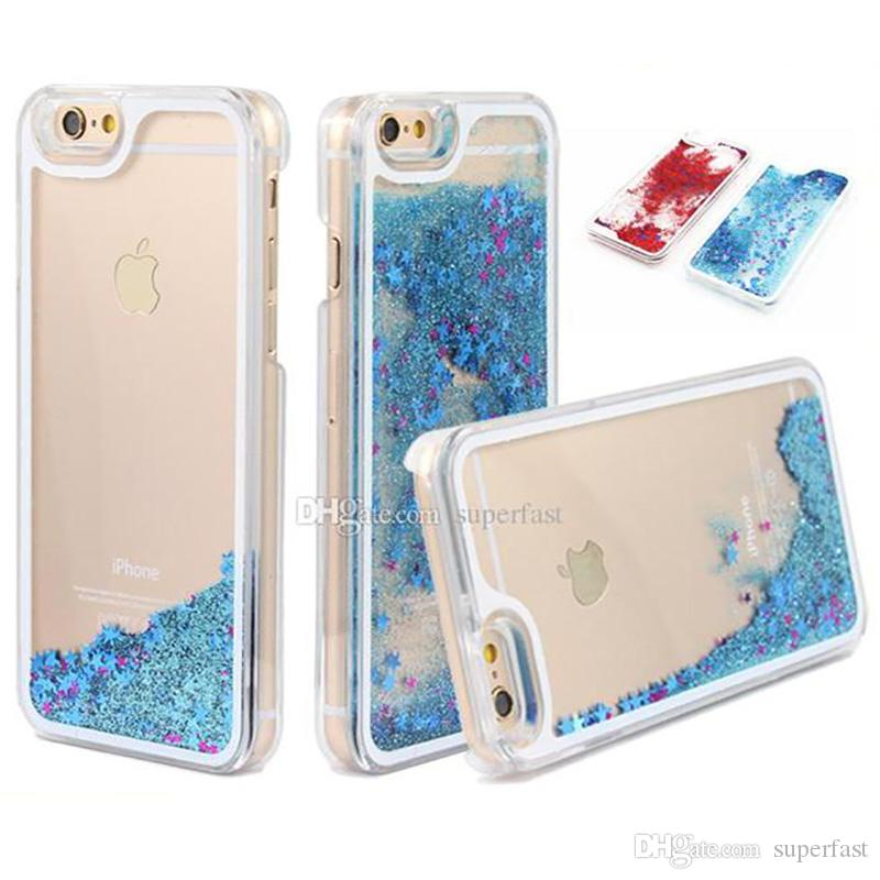 Transparent PC Phone Cases For iPhone X 8 7 Plus Clear Hard Glitter Star Dynamic Case For Samsung S8 S8 Plus