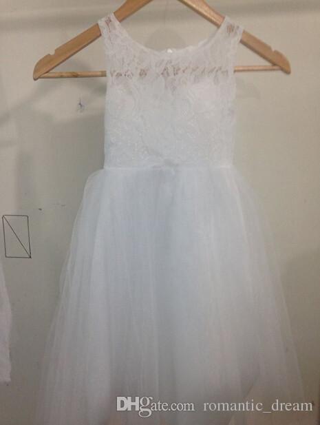 Yeni Tatlı Çiçek Kız Elbise Parti Elbise Prenses Pageant Communion Elbise Küçük Kızlar Çocuklar için / Çocuklar için Elbise Düğün