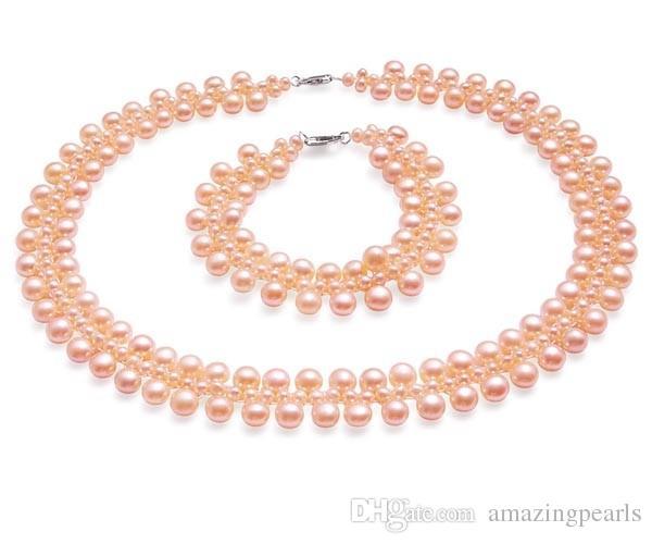 Juego de 3 perlas de perlas de novia en plata esterlina 925 Collar y brazalete de perlas de agua dulce auténticos Conjunto de alta calidad de piedras preciosas