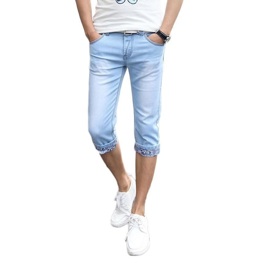 Fashion- Vogue Pop Summer Slim Fit Cuffs Men€s Casual Shorts Teenager Straight Thin Short Jeans Cotton Shorts Men€s Shorts