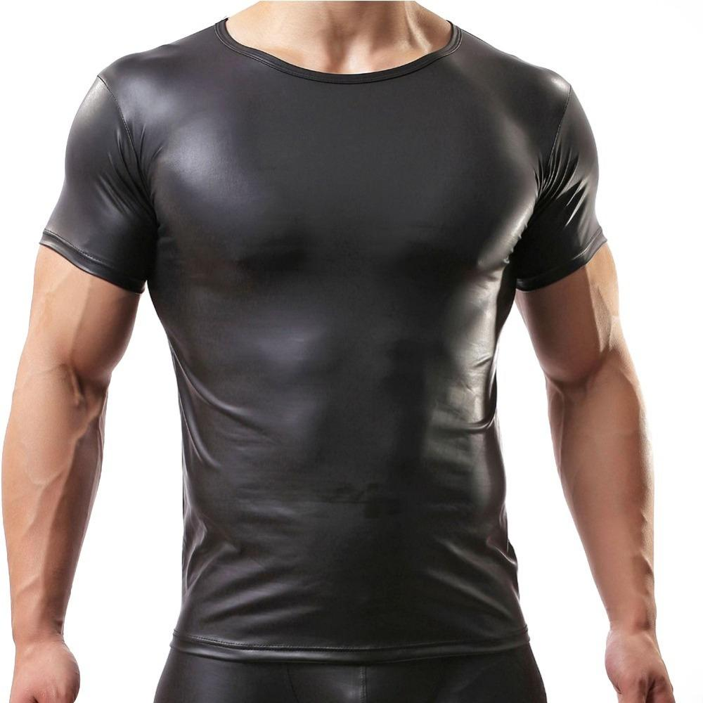 Black t shirt for man - Sexy Clothes For Man Faux Leather Short Sleeve T Shirts Tops Sex Men Tight Black