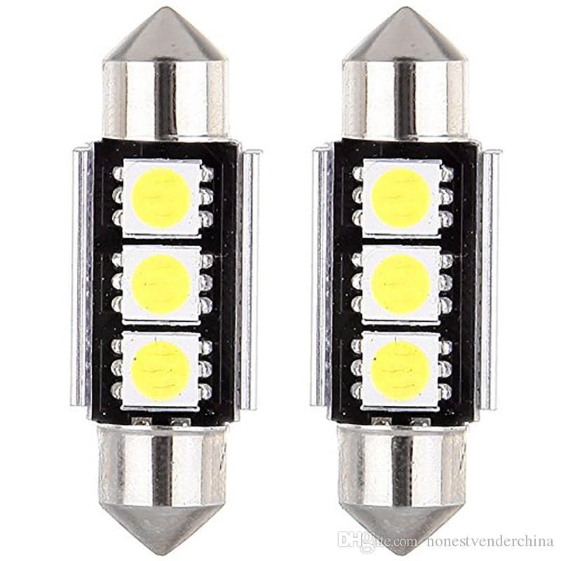 20pcs CANBUS Festoon Dome luci di lettura porta errore libero 3 LED 5050 SMD 6418 C5W targa led lampadina 36mm 39mm 42mm
