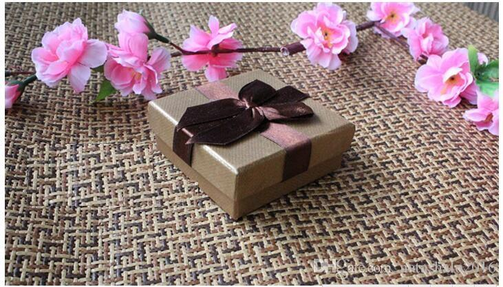 Coffee Jewelry Box for Necklace Vintage Bow Tie Necklaces Gift Boxes for Earrings Rings Packing box 7*7cm 12pcs/lot BX-13
