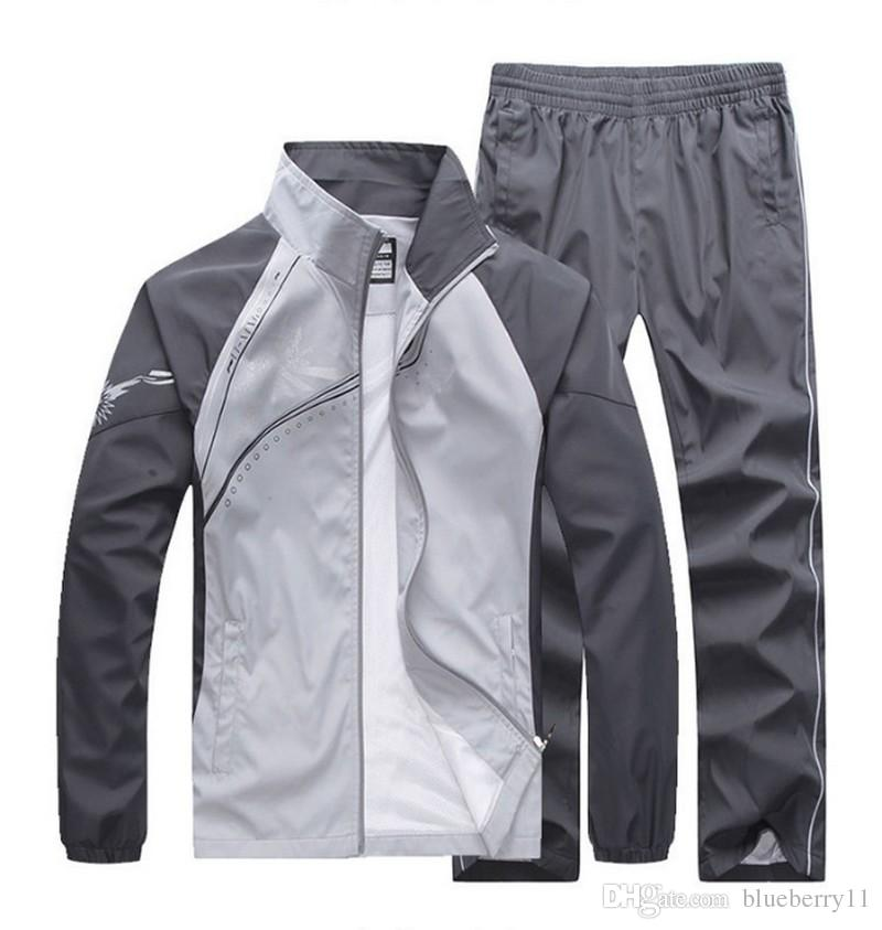 fashion men's casual tracksuits patchwork sportswear coats jackets+pants sets mens hoodies and sweatshirts outwear suits M-5XL